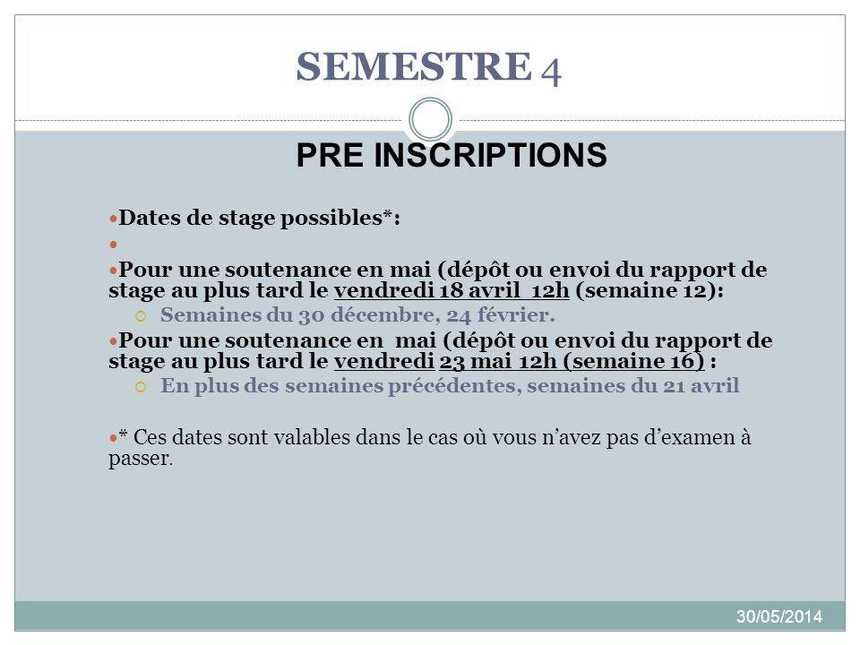 SEMESTRE 4 30/05/2014 Dates de stage possibles*: Pour une soutenance en mai (dépôt ou envoi du rapport de stage au plus tard le vendredi 18 avril 12h