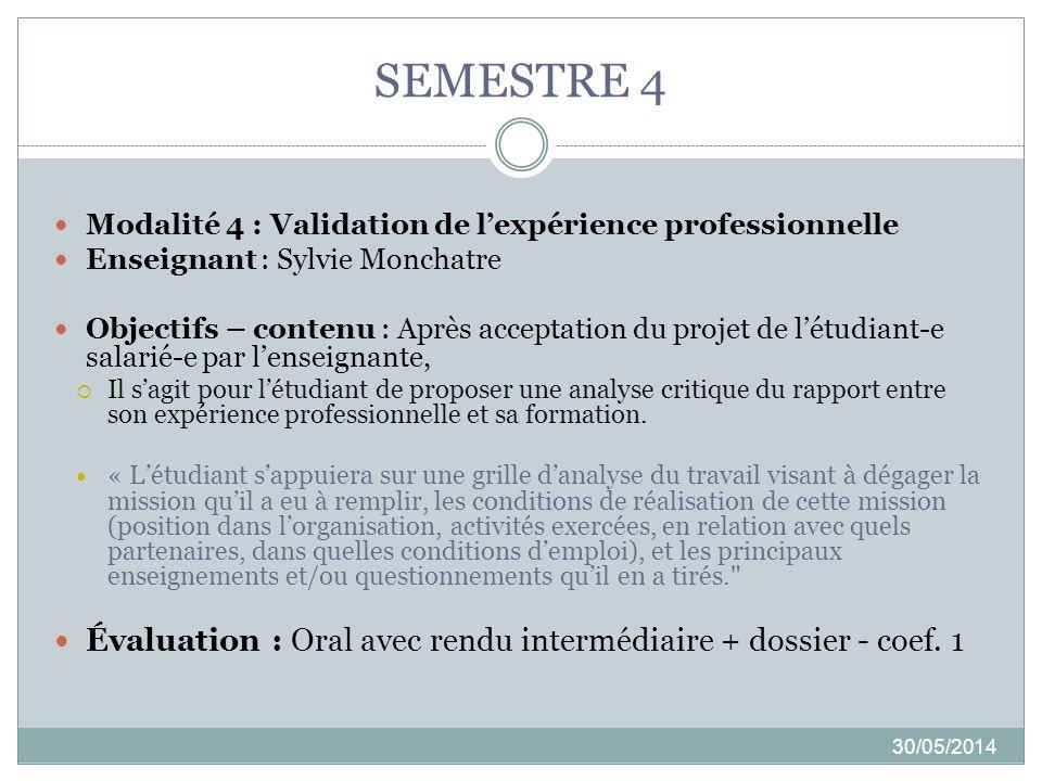 SEMESTRE 4 30/05/2014 Modalité 4 : Validation de lexpérience professionnelle Enseignant : Sylvie Monchatre Objectifs – contenu : Après acceptation du