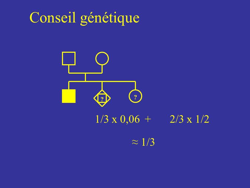 Conseil génétique ? 1/3 x 0,06+2/3 x 1/2 1/3 ?