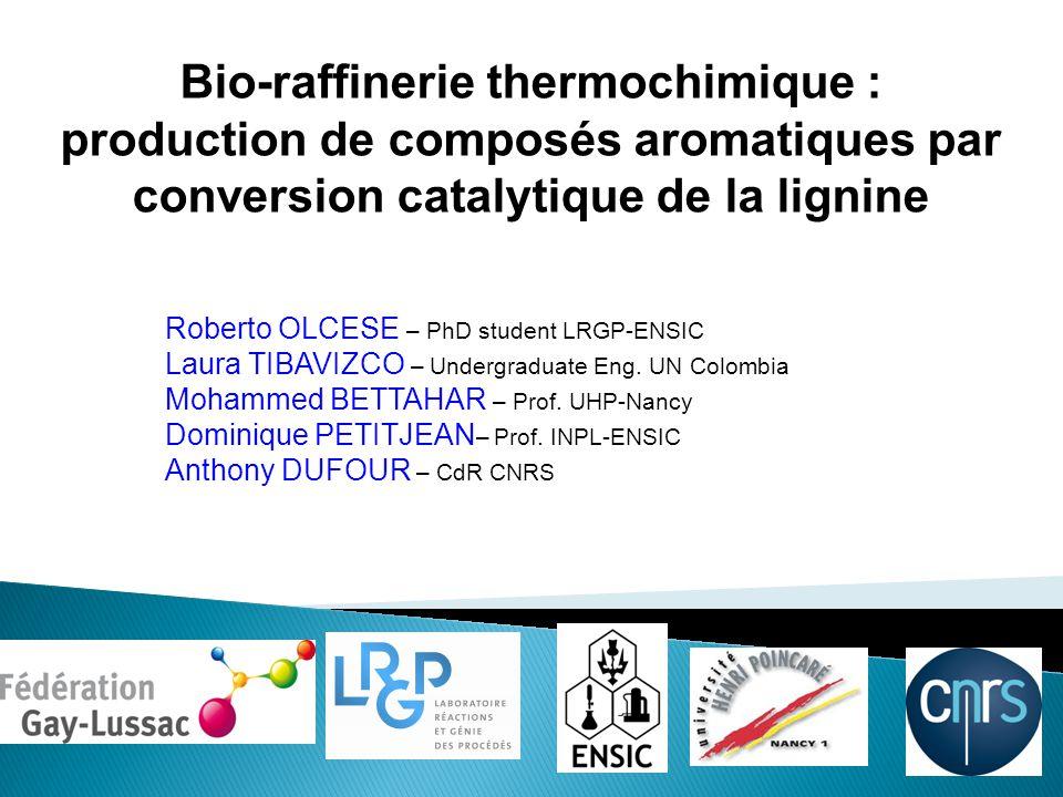 Bio-raffinerie thermochimique : production de composés aromatiques par conversion catalytique de la lignine Roberto OLCESE – PhD student LRGP-ENSIC Laura TIBAVIZCO – Undergraduate Eng.
