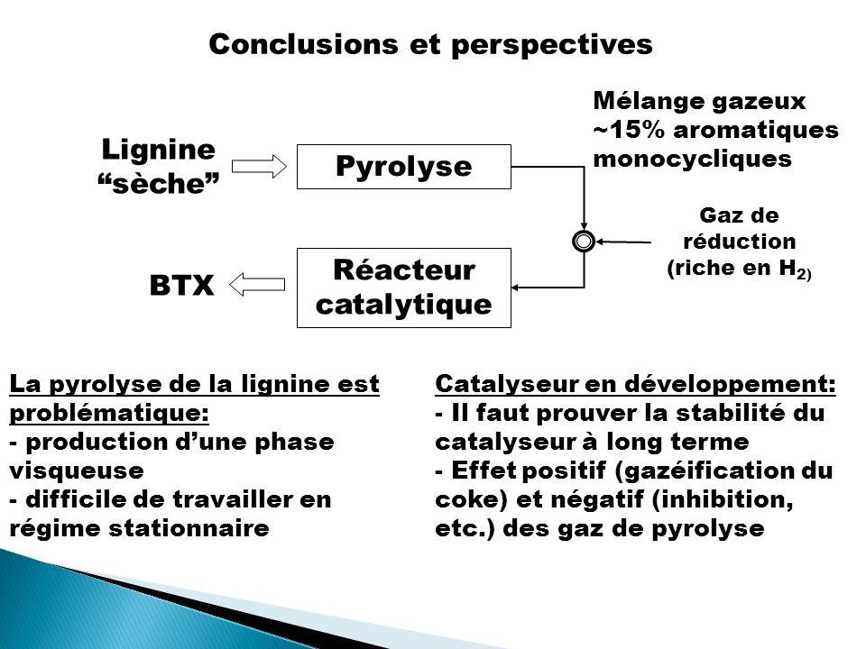 Conclusions et perspectives Pyrolyse Lignine sèche Mélange gazeux ~15% aromatiques monocycliques Gaz de réduction (riche en H 2) Réacteur catalytique BTX La pyrolyse de la lignine est problématique: - production dune phase visqueuse - difficile de travailler en régime stationnaire Catalyseur en développement: - Il faut prouver la stabilité du catalyseur à long terme - Effet positif (gazéification du coke) et négatif (inhibition, etc.) des gaz de pyrolyse