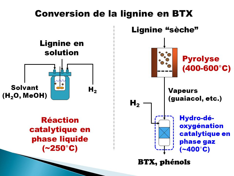 BTX, phénols H2H2 Pyrolyse (400-600°C) Hydro-dé- oxygénation catalytique en phase gaz (~400°C) Vapeurs (guaiacol, etc.) Lignine sèche Lignine en solution Solvant (H 2 O, MeOH) Réaction catalytique en phase liquide (~250°C) H2H2 Conversion de la lignine en BTX