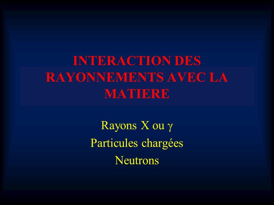 INTERACTION DES RAYONNEMENTS AVEC LA MATIERE Rayons X ou Particules chargées Neutrons