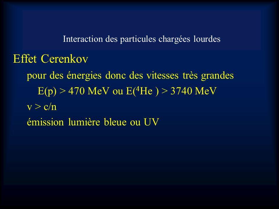 Effet Cerenkov pour des énergies donc des vitesses très grandes E(p) > 470 MeV ou E( 4 He ) > 3740 MeV v > c/n émission lumière bleue ou UV