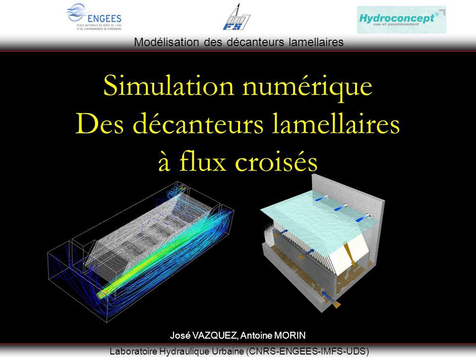 Modélisation des décanteurs lamellaires Laboratoire Hydraulique Urbaine (CNRS-ENGEES-IMFS-UDS) Simulation numérique Des décanteurs lamellaires à flux croisés José VAZQUEZ, Antoine MORIN