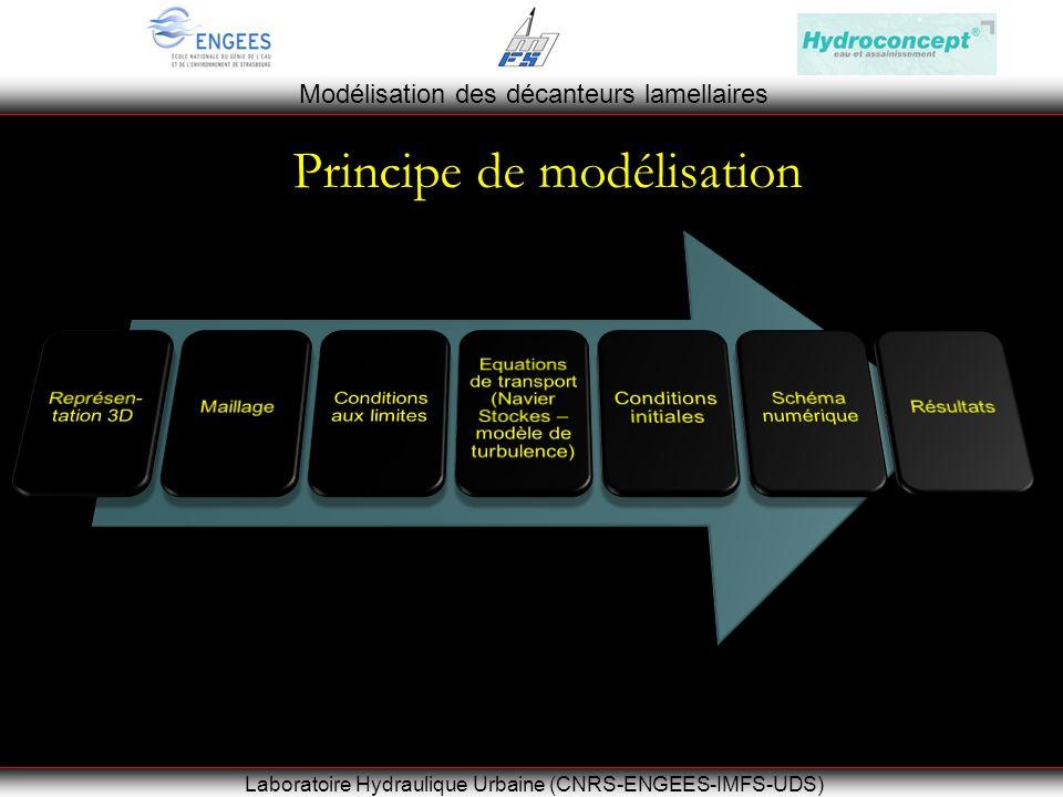 Modélisation des décanteurs lamellaires Laboratoire Hydraulique Urbaine (CNRS-ENGEES-IMFS-UDS) Principe de modélisation
