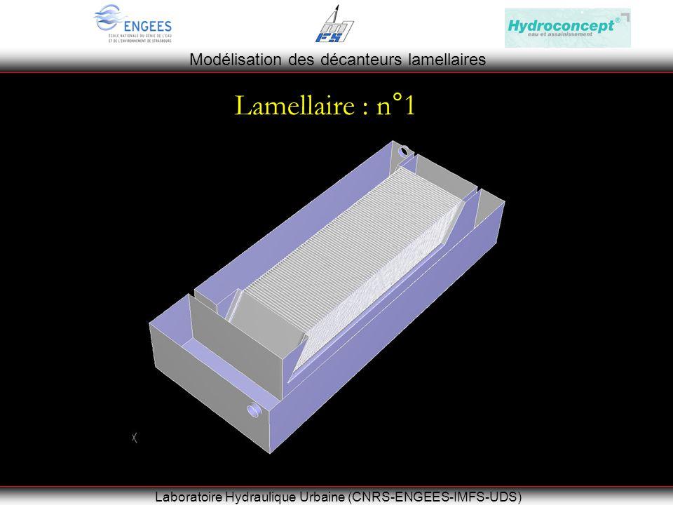 Modélisation des décanteurs lamellaires Laboratoire Hydraulique Urbaine (CNRS-ENGEES-IMFS-UDS) Le bassin de Rosheim Lamellaire : n°1
