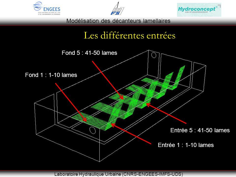 Modélisation des décanteurs lamellaires Laboratoire Hydraulique Urbaine (CNRS-ENGEES-IMFS-UDS) Les différentes entrées Entrée 1 : 1-10 lames Entrée 5 : 41-50 lames Fond 1 : 1-10 lames Fond 5 : 41-50 lames