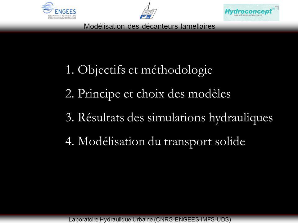 Modélisation des décanteurs lamellaires Laboratoire Hydraulique Urbaine (CNRS-ENGEES-IMFS-UDS) 1.