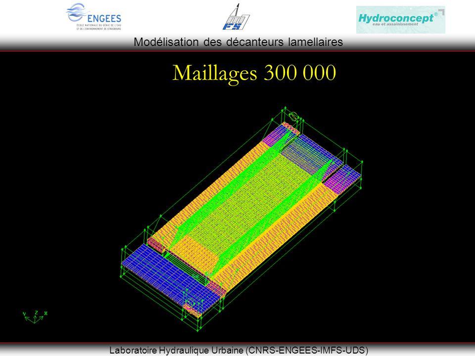 Modélisation des décanteurs lamellaires Laboratoire Hydraulique Urbaine (CNRS-ENGEES-IMFS-UDS) Maillages 300 000