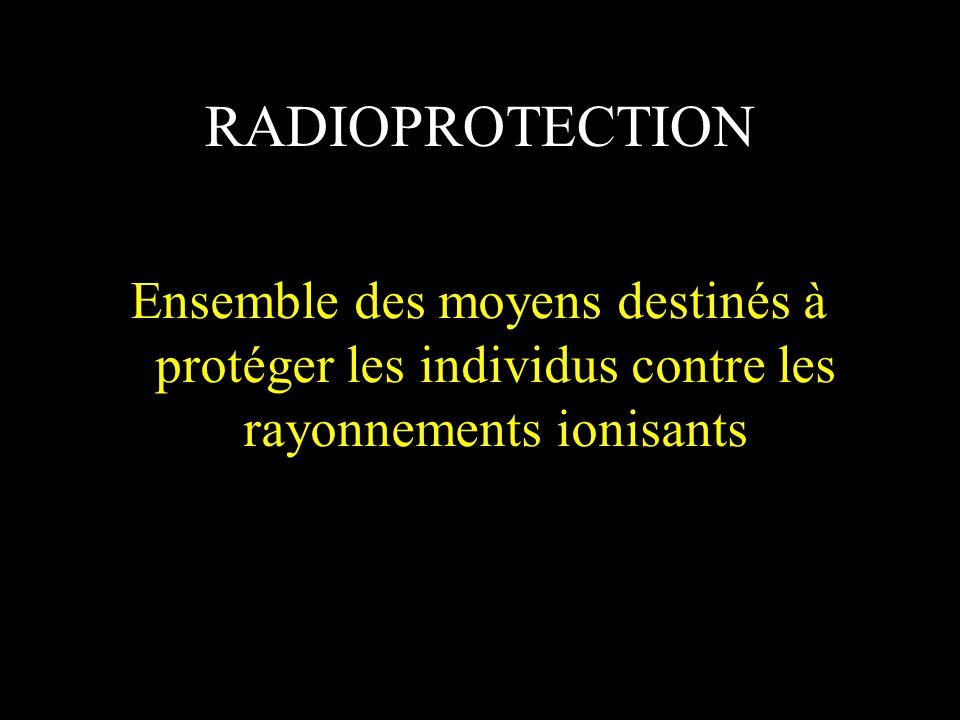 RADIOPROTECTION Ensemble des moyens destinés à protéger les individus contre les rayonnements ionisants
