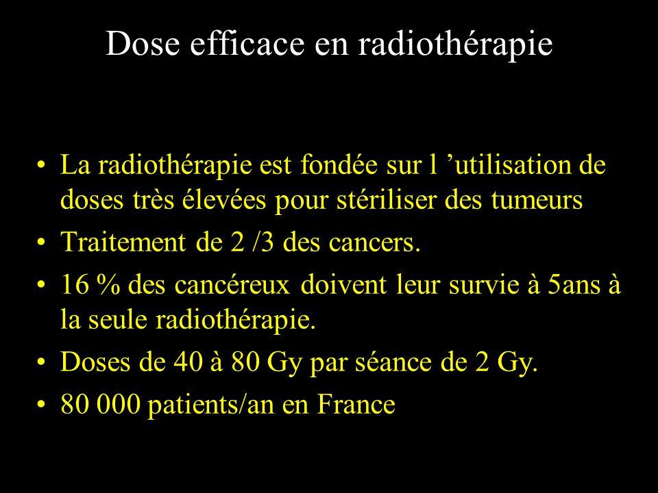 Dose efficace en radiothérapie La radiothérapie est fondée sur l utilisation de doses très élevées pour stériliser des tumeurs Traitement de 2 /3 des