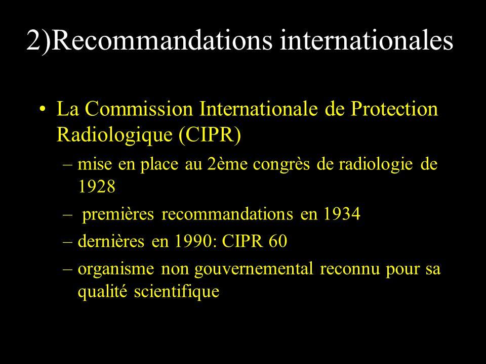 2)Recommandations internationales La Commission Internationale de Protection Radiologique (CIPR) –mise en place au 2ème congrès de radiologie de 1928