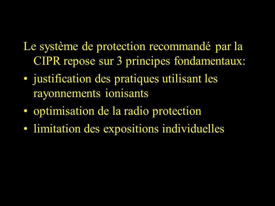 Le système de protection recommandé par la CIPR repose sur 3 principes fondamentaux: justification des pratiques utilisant les rayonnements ionisants