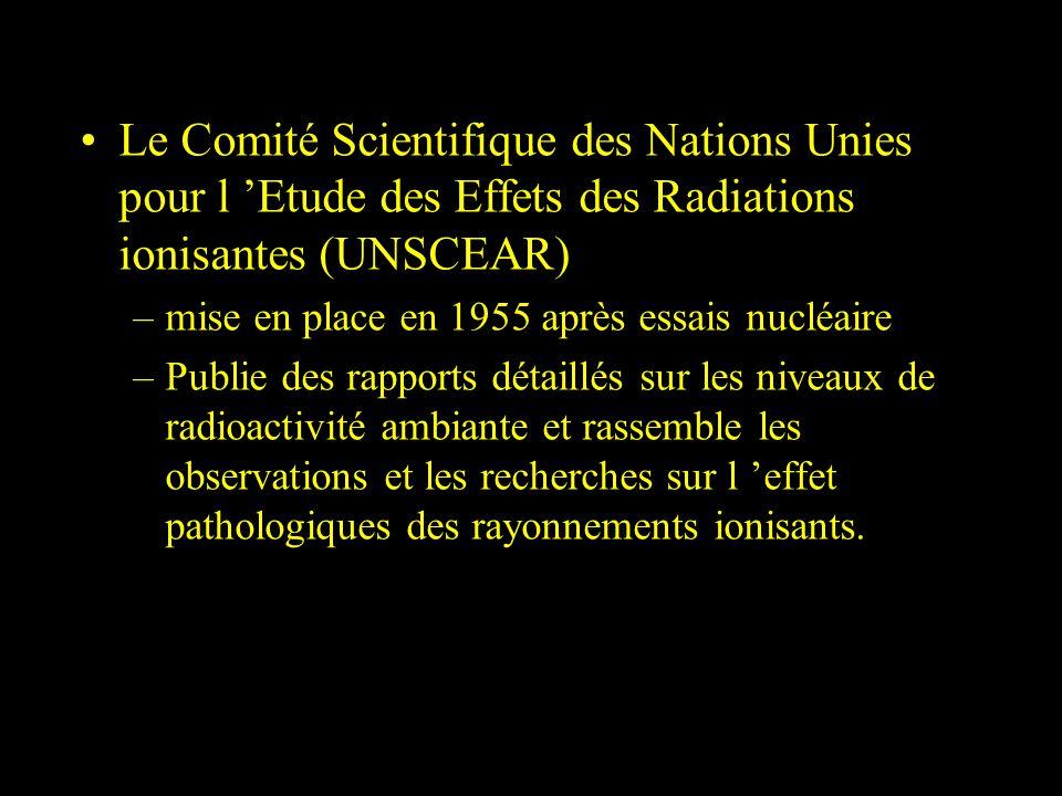 Le Comité Scientifique des Nations Unies pour l Etude des Effets des Radiations ionisantes (UNSCEAR) –mise en place en 1955 après essais nucléaire –Pu