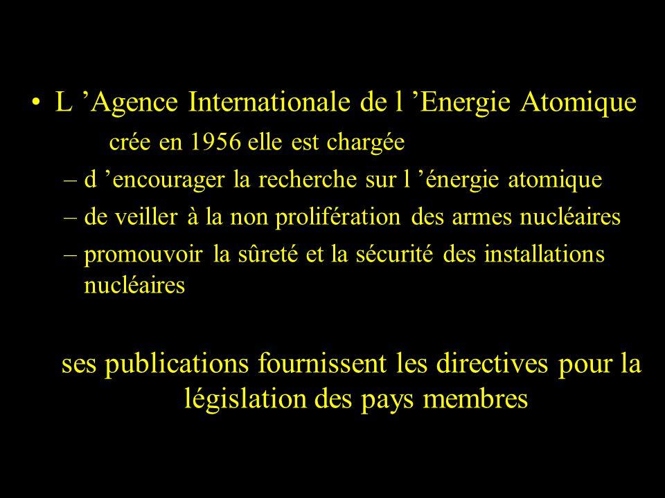 L Agence Internationale de l Energie Atomique crée en 1956 elle est chargée –d encourager la recherche sur l énergie atomique –de veiller à la non pro
