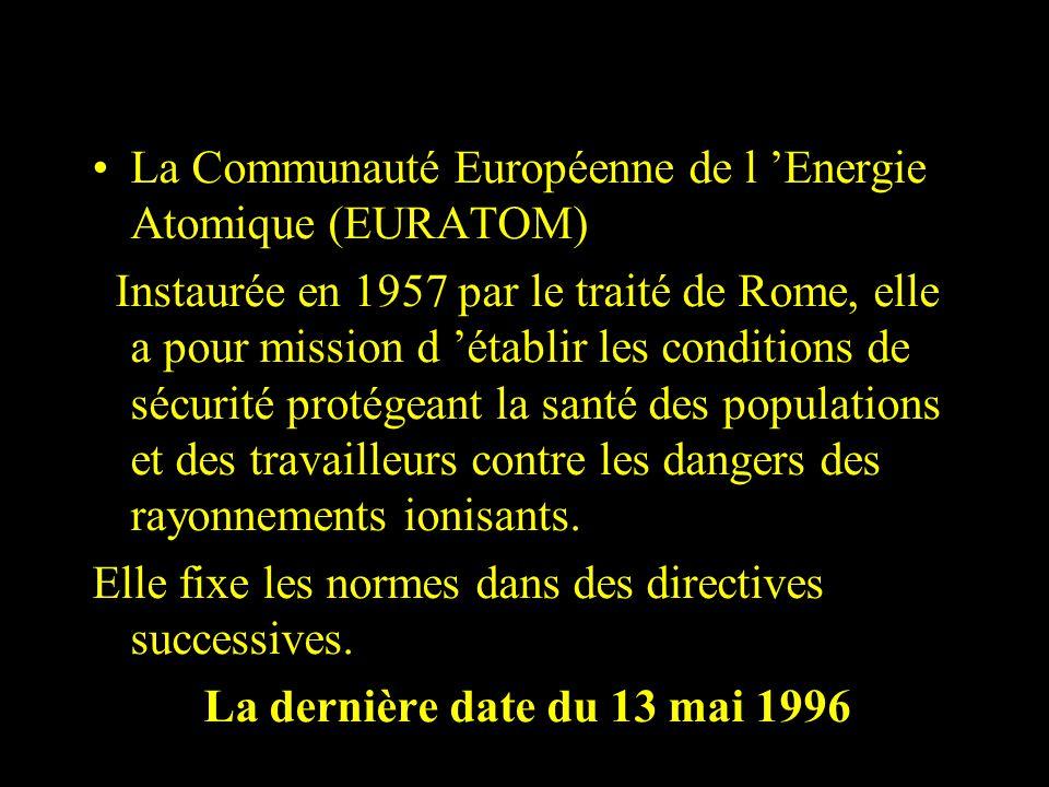 La Communauté Européenne de l Energie Atomique (EURATOM) Instaurée en 1957 par le traité de Rome, elle a pour mission d établir les conditions de sécu