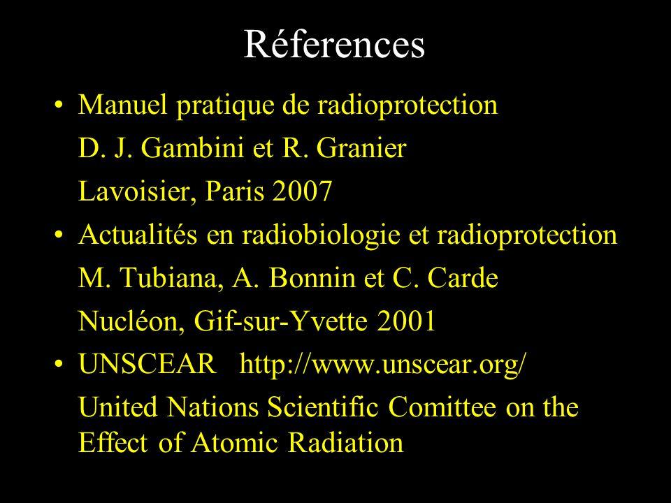 Réferences Manuel pratique de radioprotection D. J. Gambini et R. Granier Lavoisier, Paris 2007 Actualités en radiobiologie et radioprotection M. Tubi