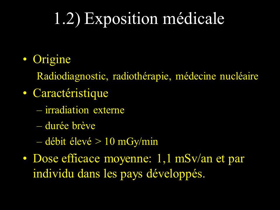 1.2) Exposition médicale Origine Radiodiagnostic, radiothérapie, médecine nucléaire Caractéristique –irradiation externe –durée brève –débit élevé > 1