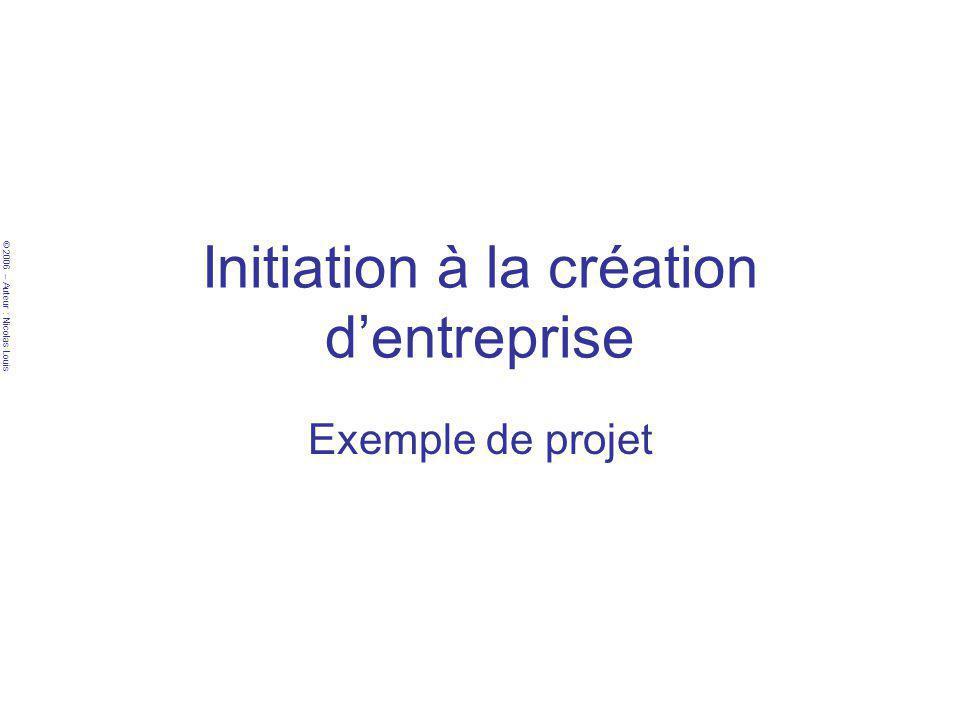 © 2006 – Auteur : Nicolas Louis Initiation à la création dentreprise Exemple de projet