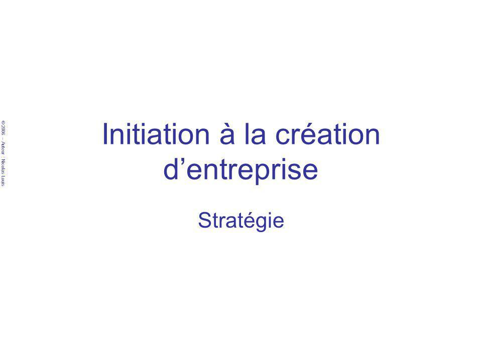 © 2006 – Auteur : Nicolas Louis Initiation à la création dentreprise Stratégie