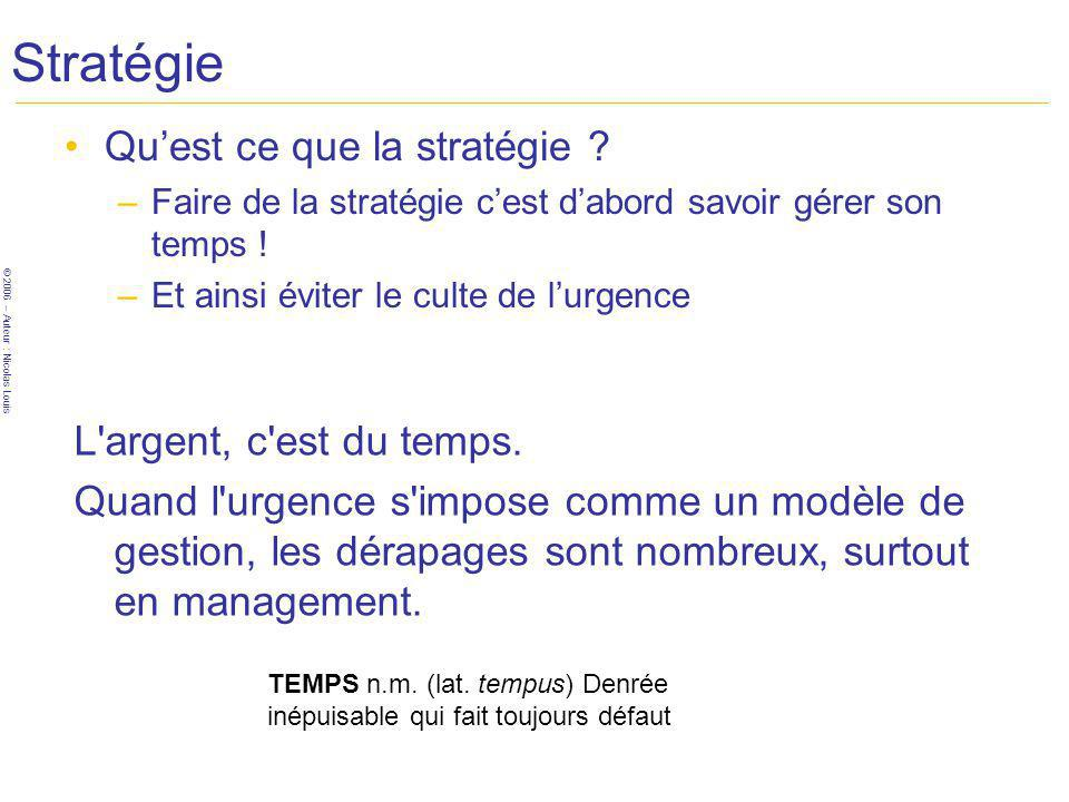 © 2006 – Auteur : Nicolas Louis Stratégie Quest ce que la stratégie ? –Faire de la stratégie cest dabord savoir gérer son temps ! –Et ainsi éviter le