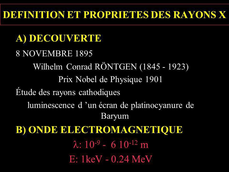 A) DECOUVERTE 8 NOVEMBRE 1895 Wilhelm Conrad RÖNTGEN (1845 - 1923) Prix Nobel de Physique 1901 Étude des rayons cathodiques luminescence d un écran de platinocyanure de Baryum B) ONDE ELECTROMAGNETIQUE : 10 -9 - 6 10 -12 m E: 1keV - 0.24 MeV DEFINITION ET PROPRIETES DES RAYONS X
