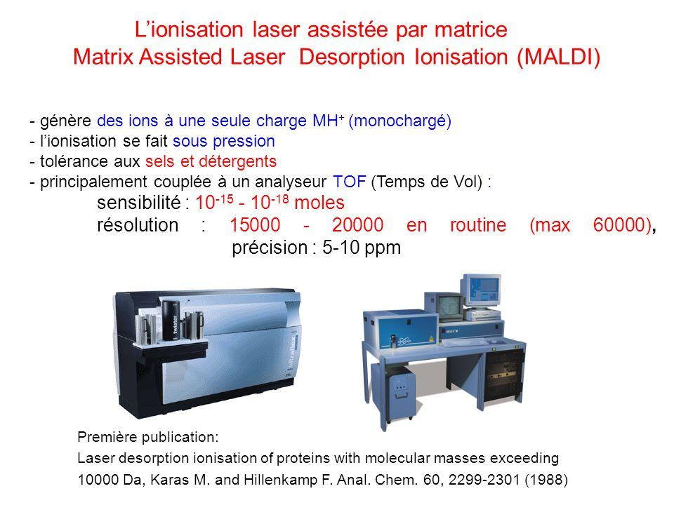 Lionisation laser assistée par matrice Matrix Assisted Laser Desorption Ionisation (MALDI) Première publication: Laser desorption ionisation of protei