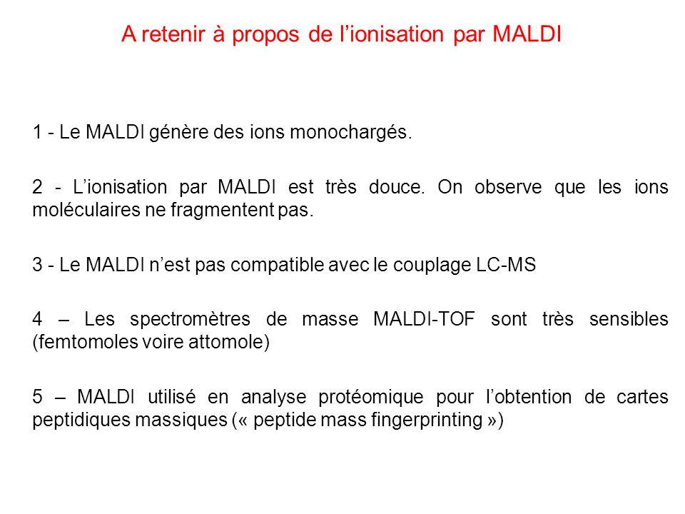 1 - Le MALDI génère des ions monochargés. 2 - Lionisation par MALDI est très douce. On observe que les ions moléculaires ne fragmentent pas. 3 - Le MA