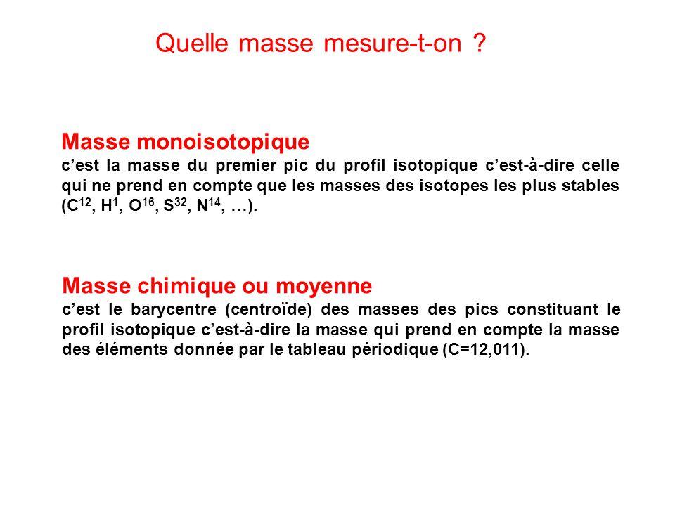 Masse monoisotopique cest la masse du premier pic du profil isotopique cest-à-dire celle qui ne prend en compte que les masses des isotopes les plus s