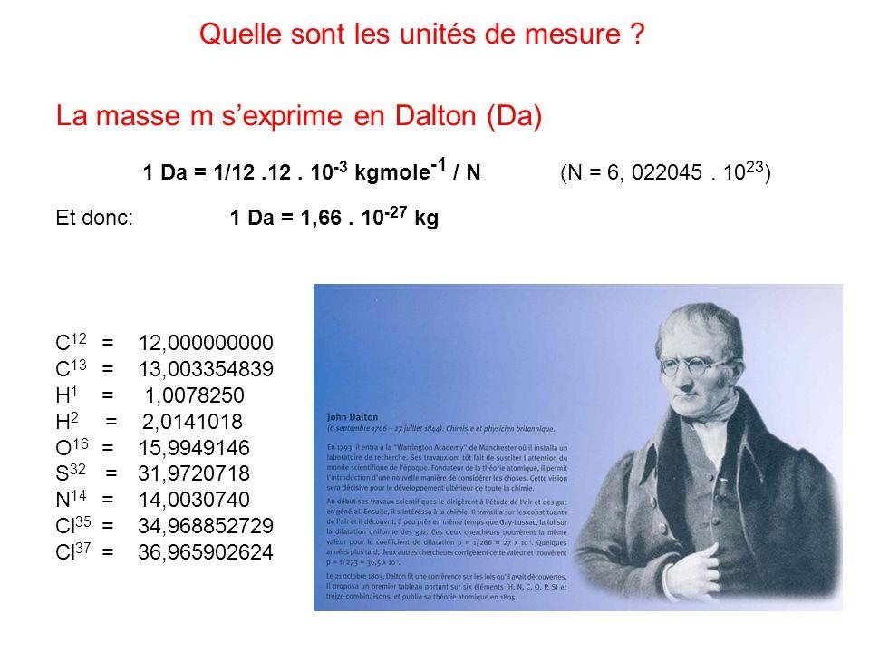 La masse m sexprime en Dalton (Da) 1 Da = 1/12.12. 10 -3 kgmole -1 / N (N = 6, 022045. 10 23 ) Et donc:1 Da = 1,66. 10 -27 kg Quelle sont les unités d