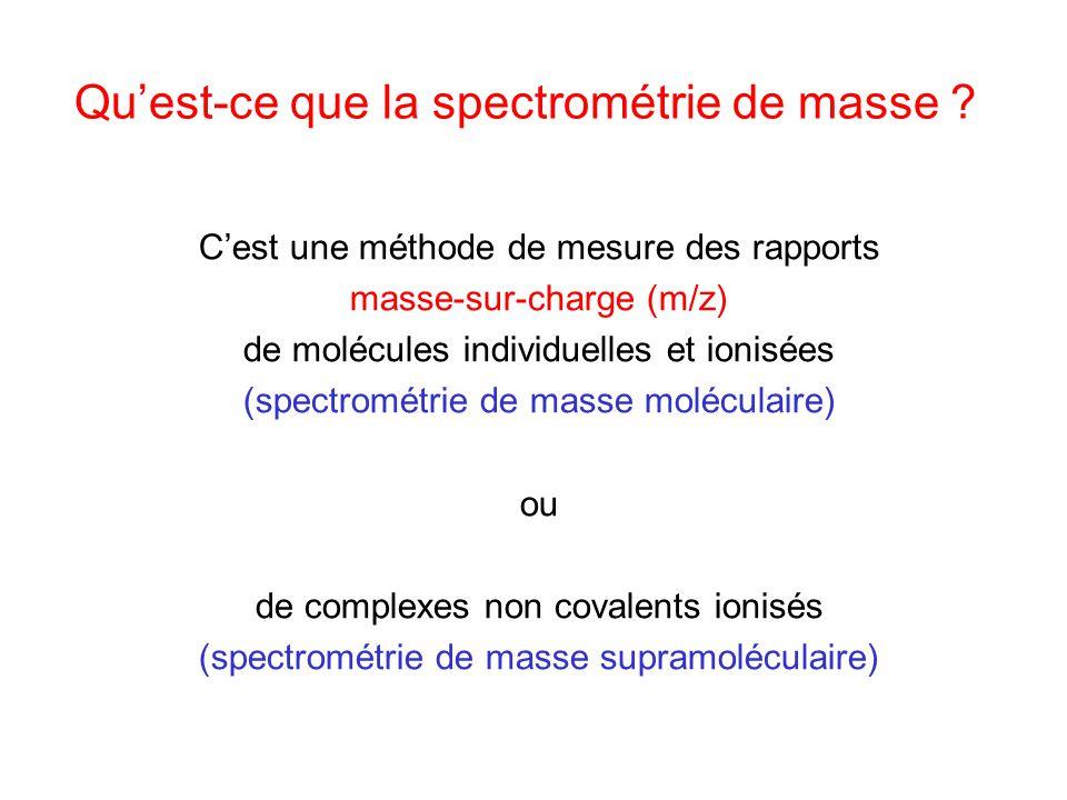 Quest-ce que la spectrométrie de masse ? Cest une méthode de mesure des rapports masse-sur-charge (m/z) de molécules individuelles et ionisées (spectr