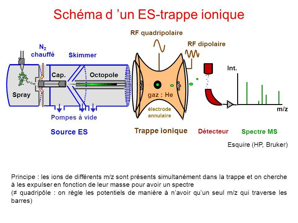 Schéma d un ES-trappe ionique Esquire (HP, Bruker) Principe : les ions de différents m/z sont présents simultanément dans la trappe et on cherche à le