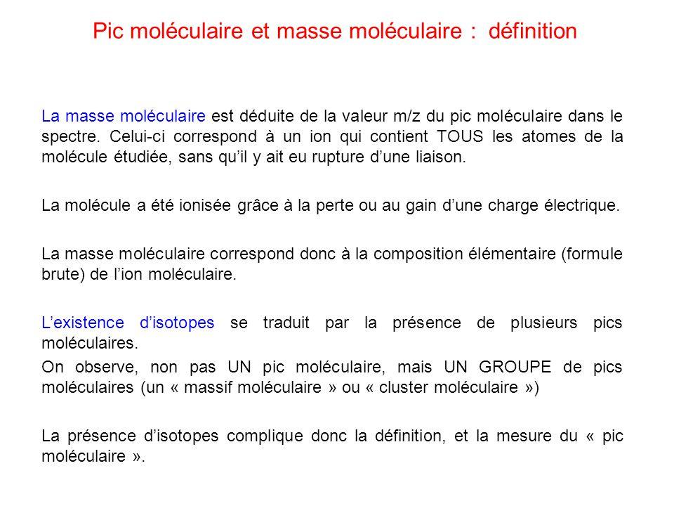 Pic moléculaire et masse moléculaire : définition La masse moléculaire est déduite de la valeur m/z du pic moléculaire dans le spectre. Celui-ci corre