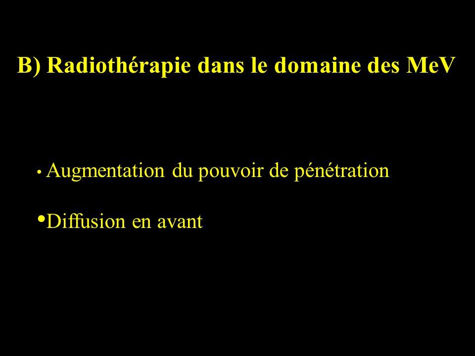 B) Radiothérapie dans le domaine des MeV Augmentation du pouvoir de pénétration Diffusion en avant