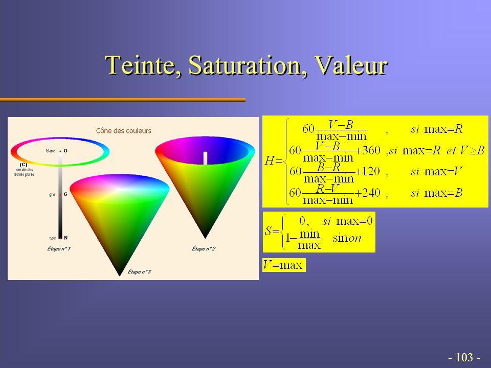 - 103 - Teinte, Saturation, Valeur