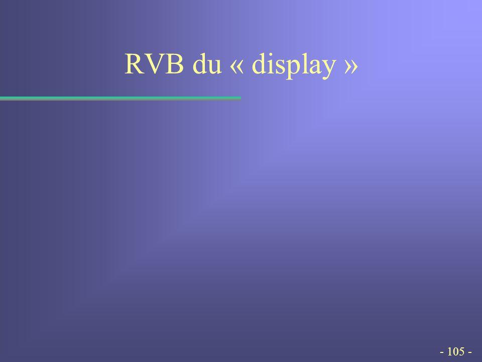 - 105 - RVB du « display »
