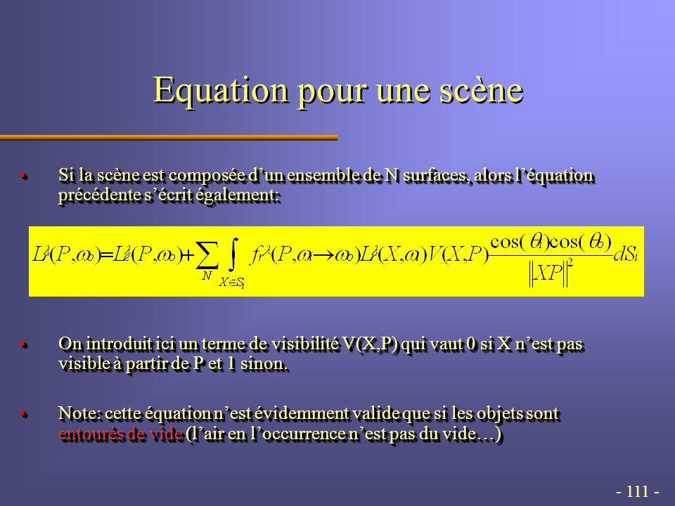 - 111 - Equation pour une scène Si la scène est composée dun ensemble de N surfaces, alors léquation précédente sécrit également:Si la scène est composée dun ensemble de N surfaces, alors léquation précédente sécrit également: On introduit ici un terme de visibilité V(X,P) qui vaut 0 si X nest pas visible à partir de P et 1 sinon.On introduit ici un terme de visibilité V(X,P) qui vaut 0 si X nest pas visible à partir de P et 1 sinon.