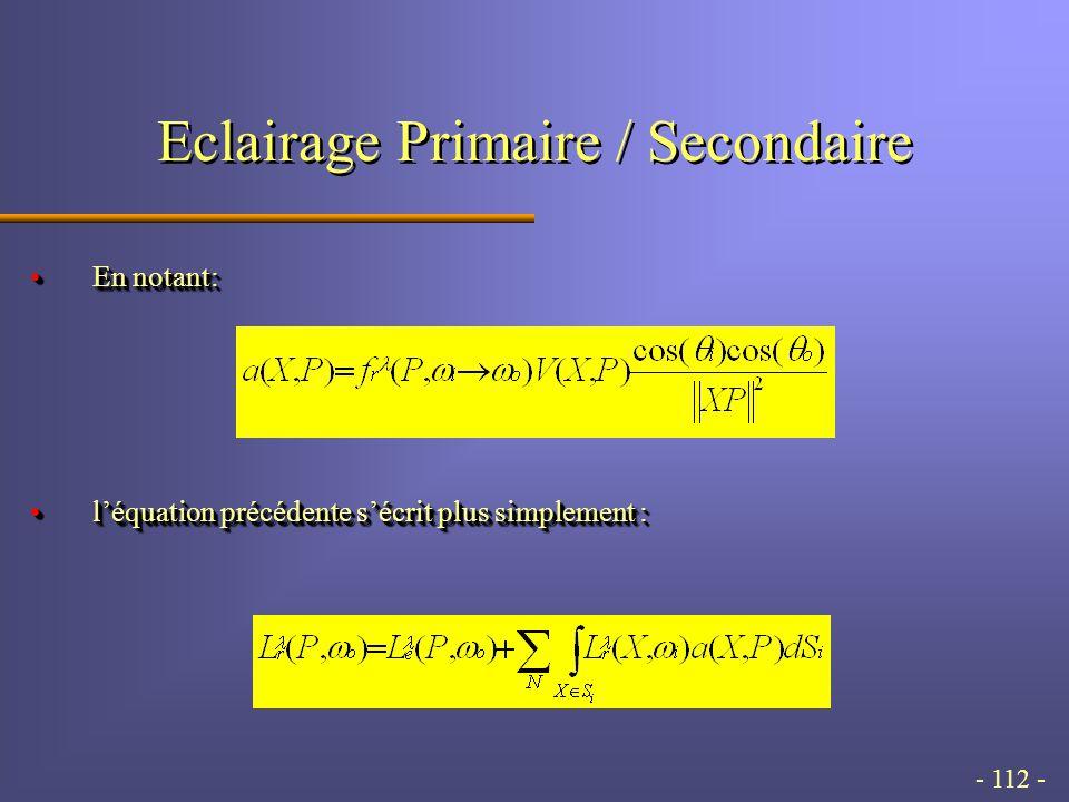 - 112 - Eclairage Primaire / Secondaire En notant:En notant: léquation précédente sécrit plus simplement :léquation précédente sécrit plus simplement : En notant:En notant: léquation précédente sécrit plus simplement :léquation précédente sécrit plus simplement :