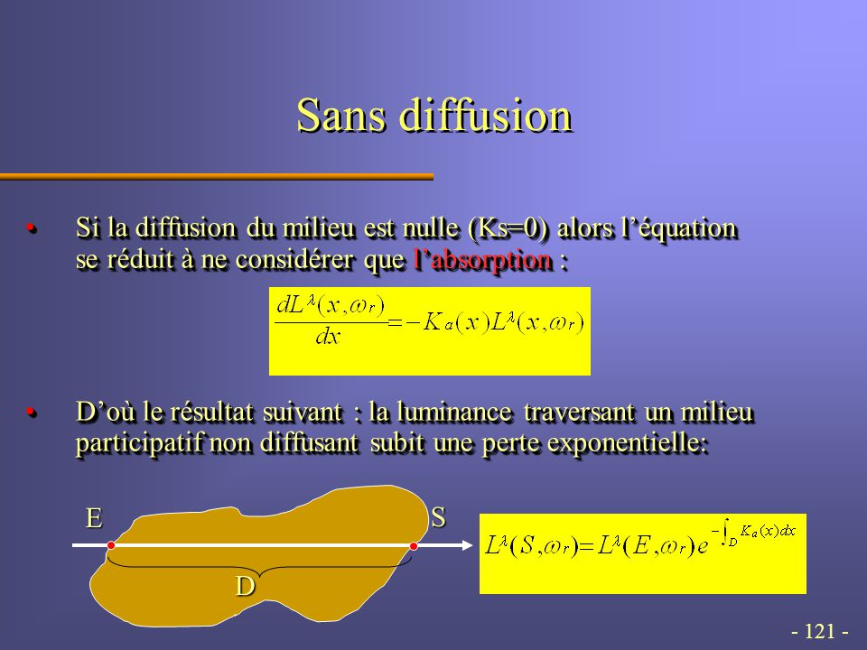 - 121 - Sans diffusion Si la diffusion du milieu est nulle (Ks=0) alors léquation se réduit à ne considérer que labsorption :Si la diffusion du milieu est nulle (Ks=0) alors léquation se réduit à ne considérer que labsorption : Doù le résultat suivant : la luminance traversant un milieu participatif non diffusant subit une perte exponentielle:Doù le résultat suivant : la luminance traversant un milieu participatif non diffusant subit une perte exponentielle: Si la diffusion du milieu est nulle (Ks=0) alors léquation se réduit à ne considérer que labsorption :Si la diffusion du milieu est nulle (Ks=0) alors léquation se réduit à ne considérer que labsorption : Doù le résultat suivant : la luminance traversant un milieu participatif non diffusant subit une perte exponentielle:Doù le résultat suivant : la luminance traversant un milieu participatif non diffusant subit une perte exponentielle: D E S