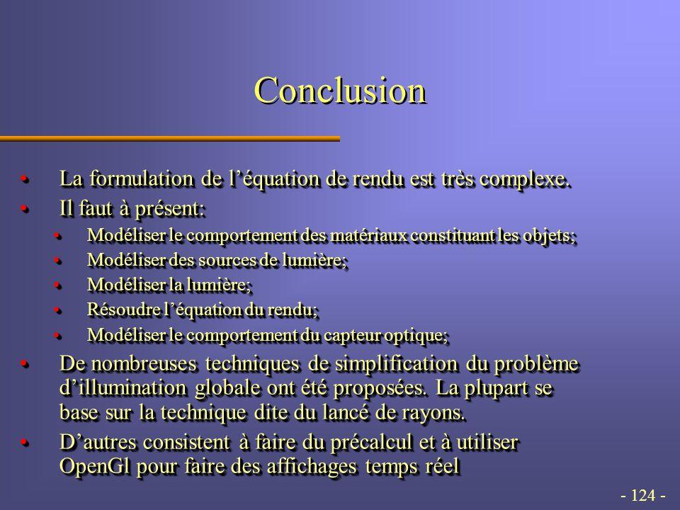 - 124 - Conclusion La formulation de léquation de rendu est très complexe.La formulation de léquation de rendu est très complexe.