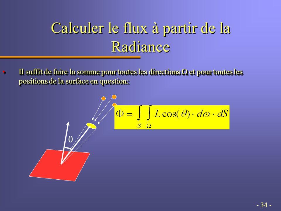 - 34 - Calculer le flux à partir de la Radiance Il suffit de faire la somme pour toutes les directions et pour toutes les positions de la surface en question:Il suffit de faire la somme pour toutes les directions et pour toutes les positions de la surface en question: