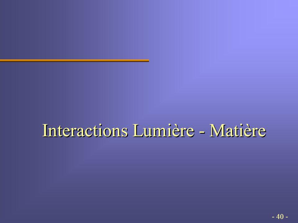 - 40 - Interactions Lumière - Matière