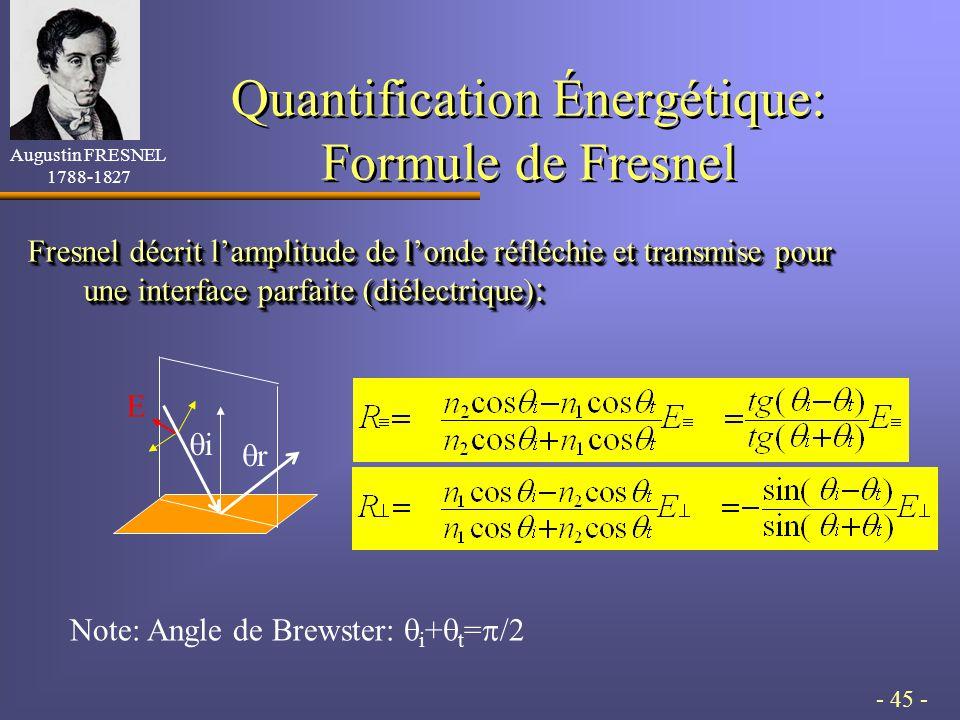 - 45 - Quantification Énergétique: Formule de Fresnel Fresnel décrit lamplitude de londe réfléchie et transmise pour une interface parfaite (diélectrique) : Note: Angle de Brewster: i + t = /2 Augustin FRESNEL 1788-1827 i r E