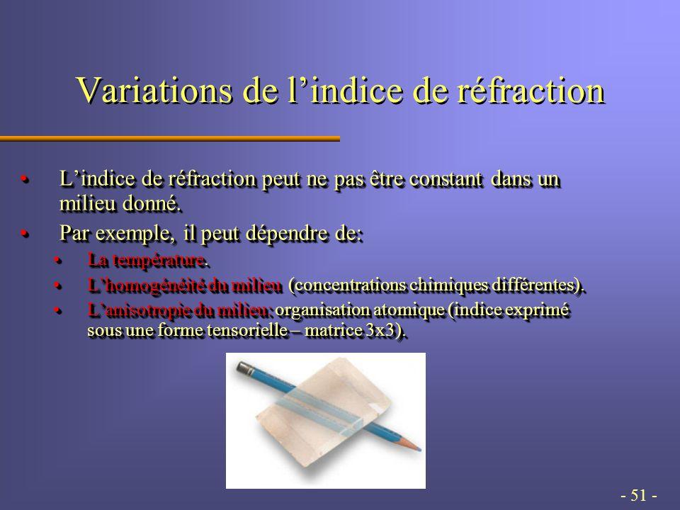 - 51 - Variations de lindice de réfraction Lindice de réfraction peut ne pas être constant dans un milieu donné.Lindice de réfraction peut ne pas être constant dans un milieu donné.