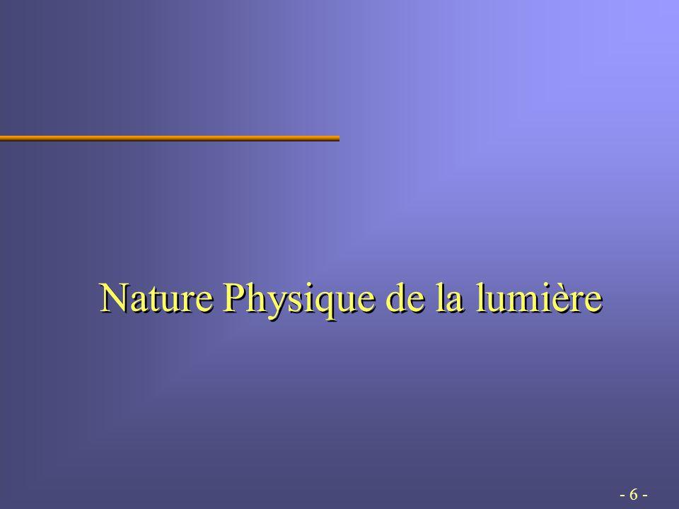 - 6 - Nature Physique de la lumière