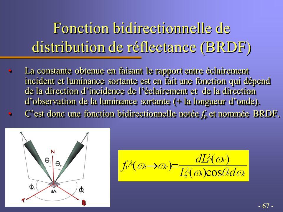 - 67 - Fonction bidirectionnelle de distribution de réflectance (BRDF) La constante obtenue en faisant le rapport entre éclairement incident et luminance sortante est en fait une fonction qui dépend de la direction dincidence de léclairement et de la direction dobservation de la luminance sortante (+ la longueur donde).La constante obtenue en faisant le rapport entre éclairement incident et luminance sortante est en fait une fonction qui dépend de la direction dincidence de léclairement et de la direction dobservation de la luminance sortante (+ la longueur donde).