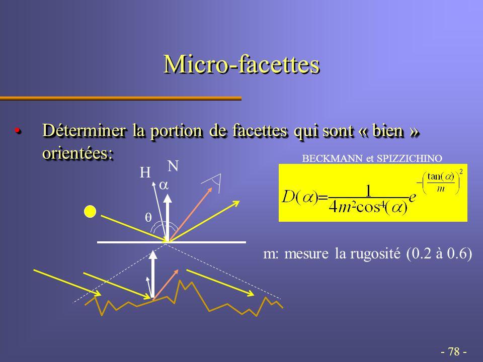 - 78 - Micro-facettes Déterminer la portion de facettes qui sont « bien » orientées:Déterminer la portion de facettes qui sont « bien » orientées: m: mesure la rugosité (0.2 à 0.6) H N BECKMANN et SPIZZICHINO