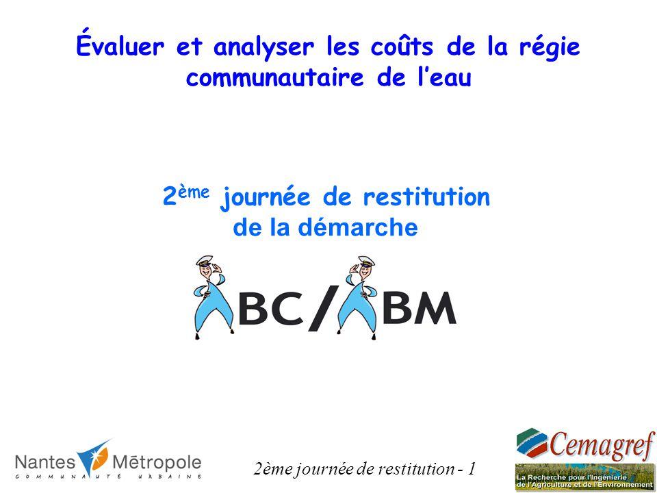 2 ème journée de restitution de la démarche 2ème journée de restitution - 1 Évaluer et analyser les coûts de la régie communautaire de leau