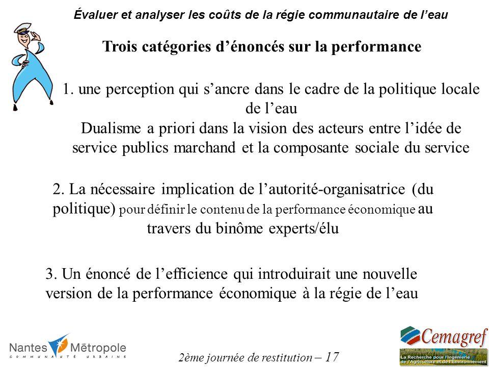 2ème journée de restitution – 17 Évaluer et analyser les coûts de la régie communautaire de leau Trois catégories dénoncés sur la performance 1. une p